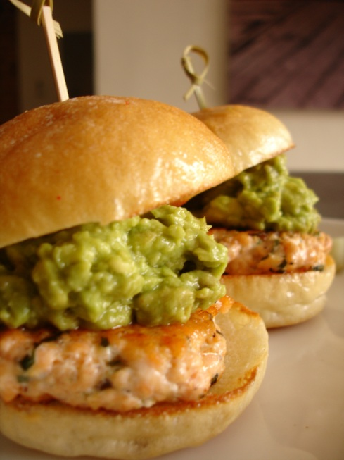 Chopped Salmon and Avocado Mini Burger
